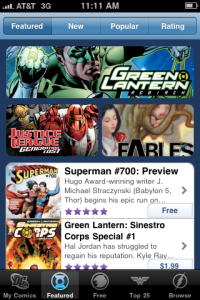 Branding examples for the DC Comics app